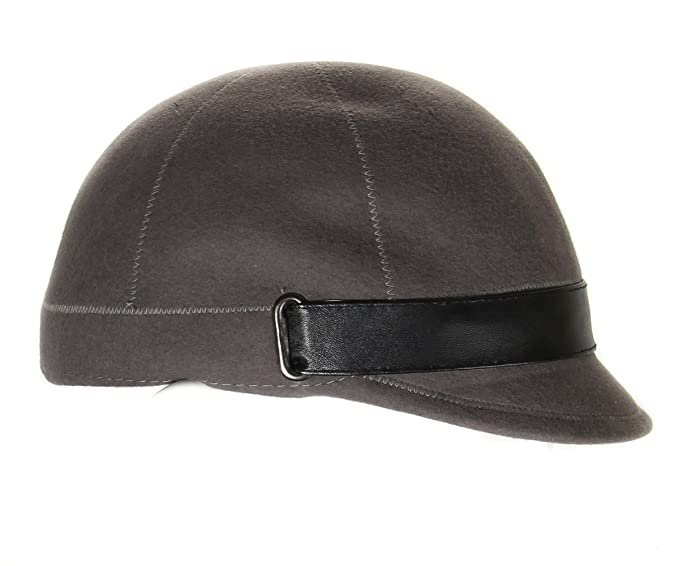 11454641714 Aqua Women s Jockey Style Hat with Faux Leather Trim Light Grey at ...