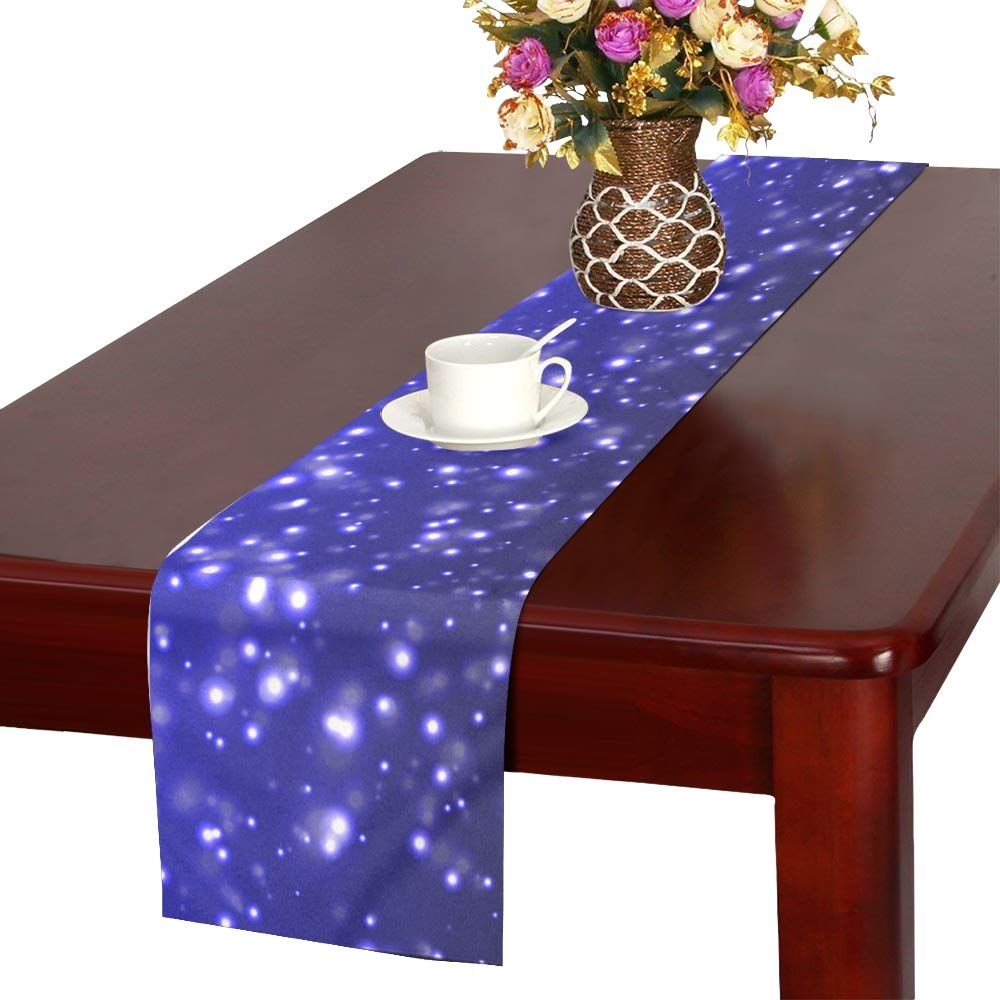 Jnseff Snow Snowy Blue Winter Table Runner, Kitchen Dining Table Runner 16 X 72 Inch For Dinner Parties, Events, Decor