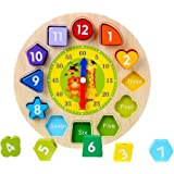 KanCai Wooden Teaching Clock Puzzle Clock Toys Wooden Educational Toy with Numbers and Shapes Sorting Blocks