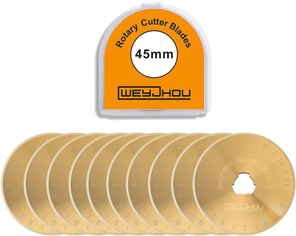 Titanium Golden Rotary Cutter Blades 45mm 10 Pack Fits OLFA,DAFA,Truecut Replacement, Quilting Scrapbooking Sewing Arts Crafts,Sharp and Durable