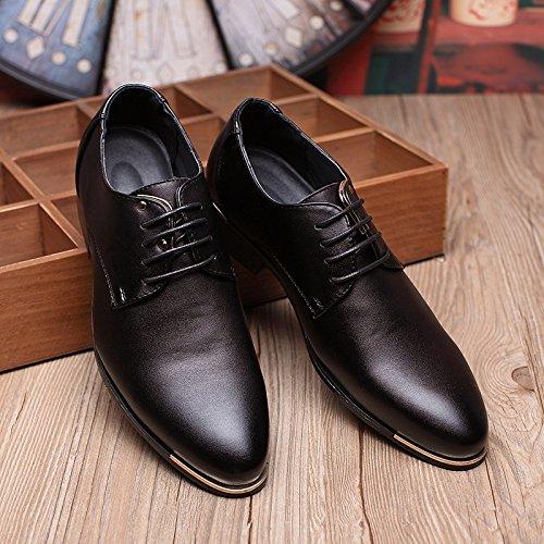 Santimon Mens Classic Modern Oxford Plain Lace Up Dress Shoes Derby Black Blue Red Black YBkHe