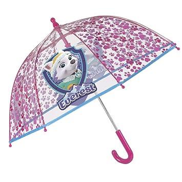 Paraguas Largo Transparente de Burbuja La Patrulla Canina con Skye y Everest para Niñas - Resistente