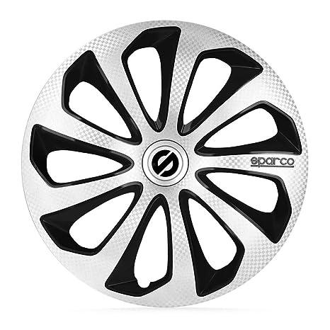 Sparco spc1575svbkc Sicilia Cubierta de la rueda Set, 15 pulgadas, plata/negro/