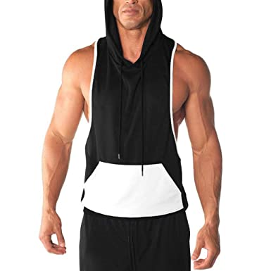 fb7b899247ac4 Hosamtel Men Sleeveless Fitness Vest T-Shirt Hooded Pocket Patchwork Casual Bodybuilding  Sport Workout Tank