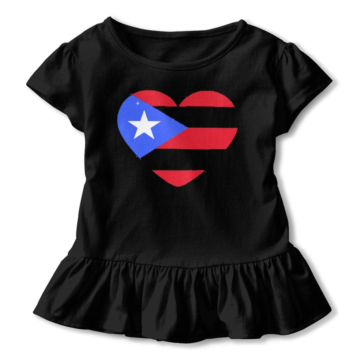 Puerto Rico Large Heart Flag Shirt Funny Little Baby Girls Flounced T Shirts Tee Shirts for 2-6T Kids Girls