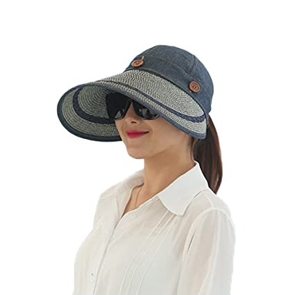 31700a32844 Image Unavailable. Image not available for. Color  linlin Women UV Protect  Foldable Wide Large Brim Visor Cap Beach Sun Hat Summer ...
