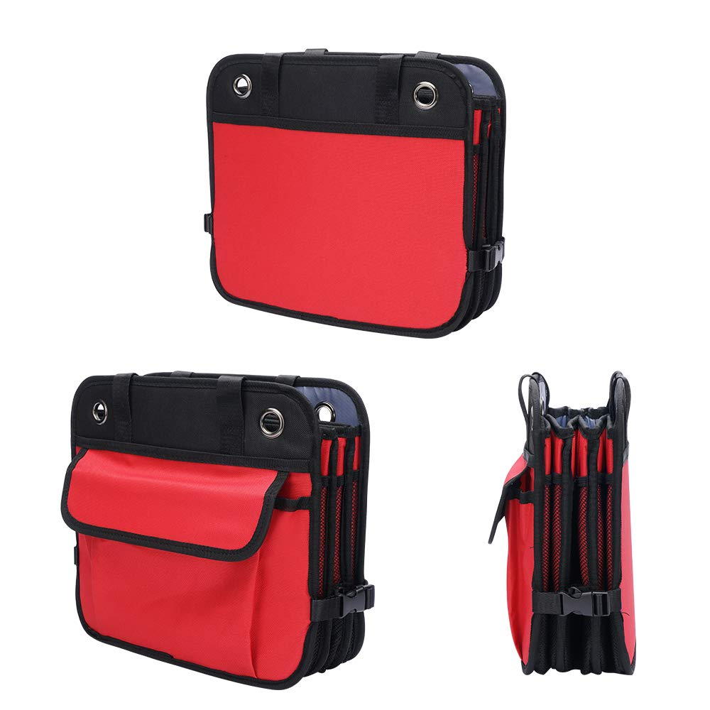 Pack of 1 JIANXIN Cutequeen Trunk Organizer Multi Compartments Collapsible Portable for SUV Car Truck Auto Red and Black