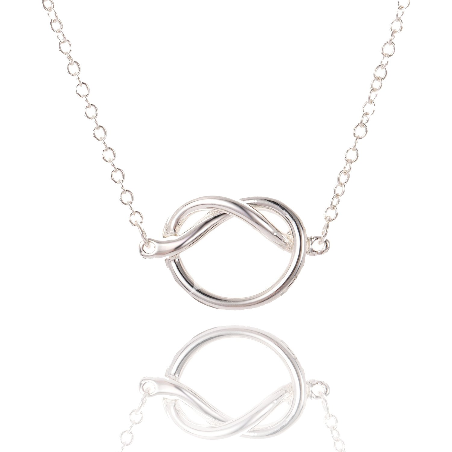 ENSIANTH Love Knot Necklace Tie The Knot Charm Pendant Wedding Gift for Bridesmaid (Silver Knot Necklace)