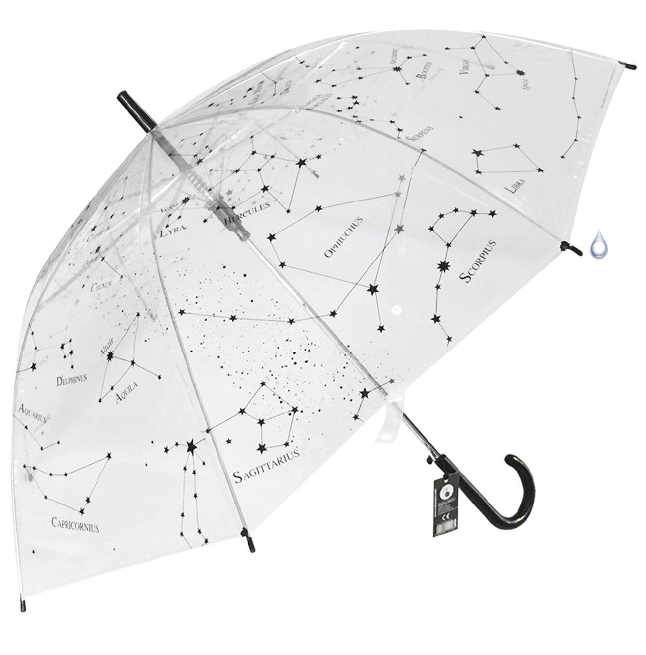 Paraguas transparente constelaciones