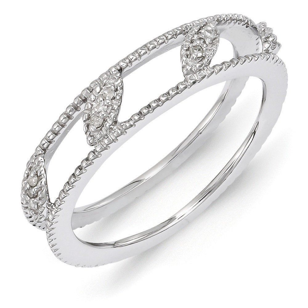 Rhodium Plated Sterling Silver Diamond Jacket Ring (.036 Ctw, I3 Clarity, H-I Color), Sz10