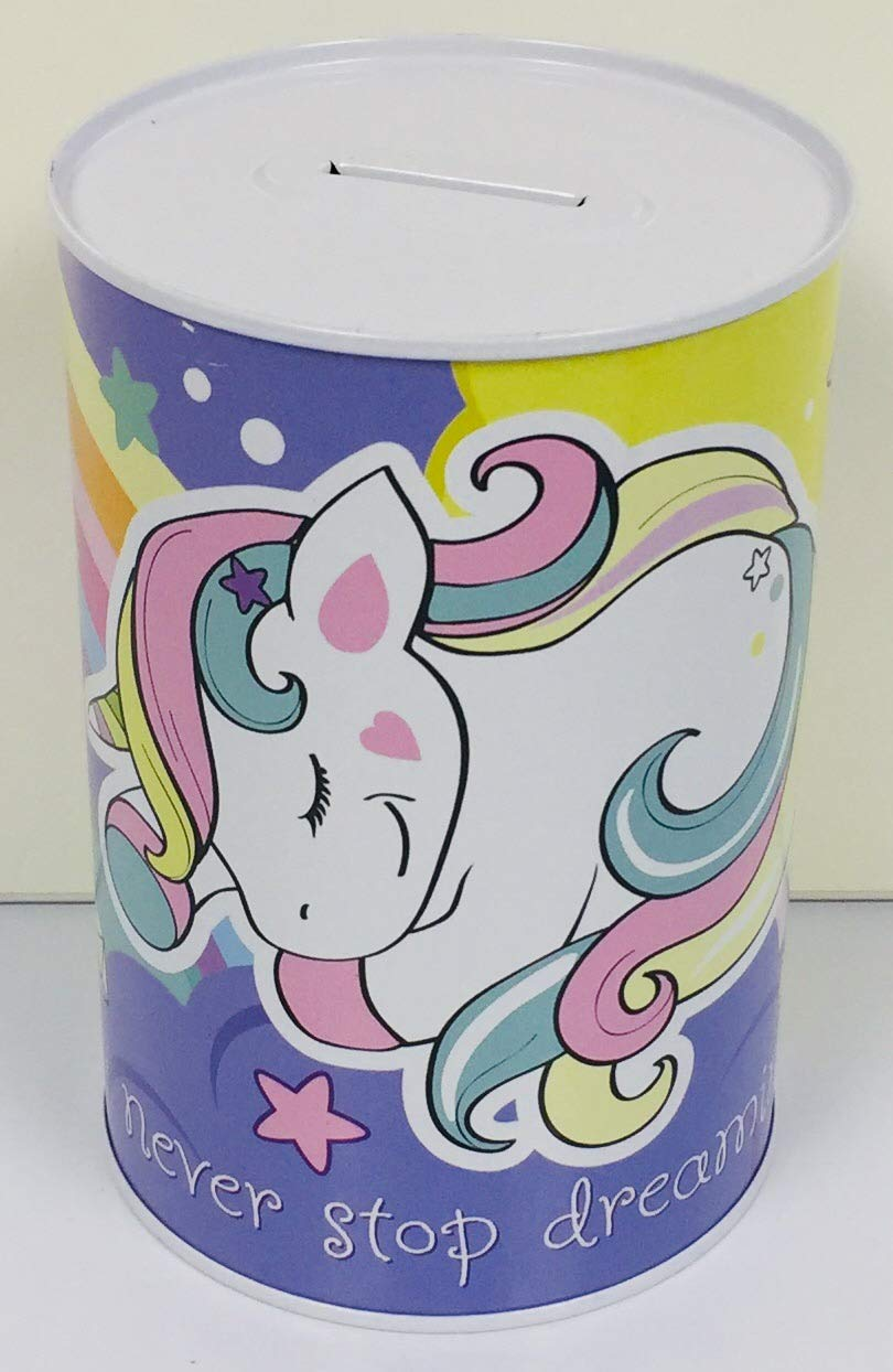 Money Box Savings Collection Tin Crown Crest Unicorn Princess Never Stop Dreaming Money Bank Piggy Bank