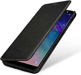 StilGut Book Type Case, Custodia per Samsung Galaxy A6 Plus 2018 a Libro Booklet in Vera Pelle, Nero
