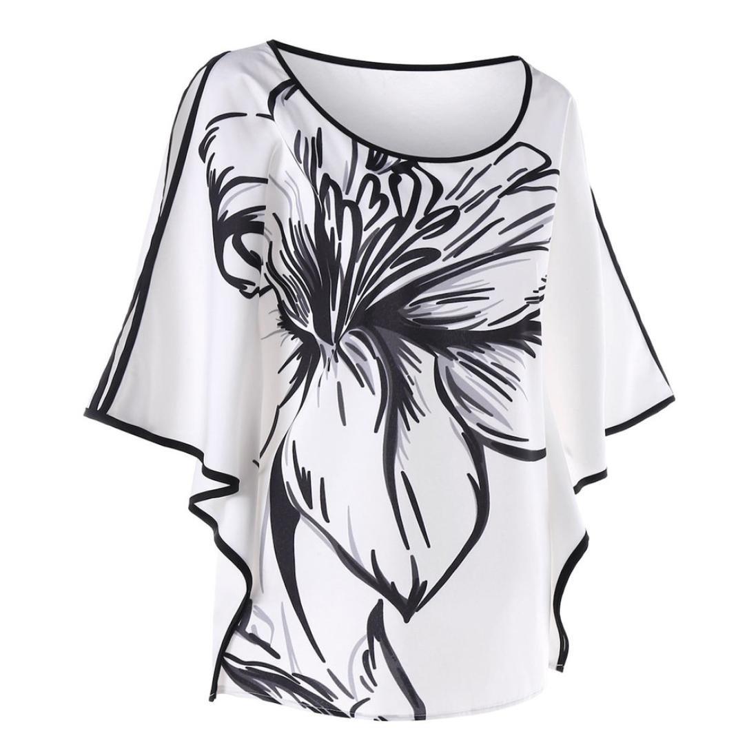 Dame Oberteile,XXYsm Sommer Blusen Pullover Tops Fledermaus/ärmel T-Shirt Frauen Blumen Drucken Hemd Lose Bluse L/ässig XXL, Wei/ß