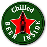 Seven Rays Round Wooden Chilled Beer Inside Fridge Magnet, 3 x 3 Inches,(Multicolour)