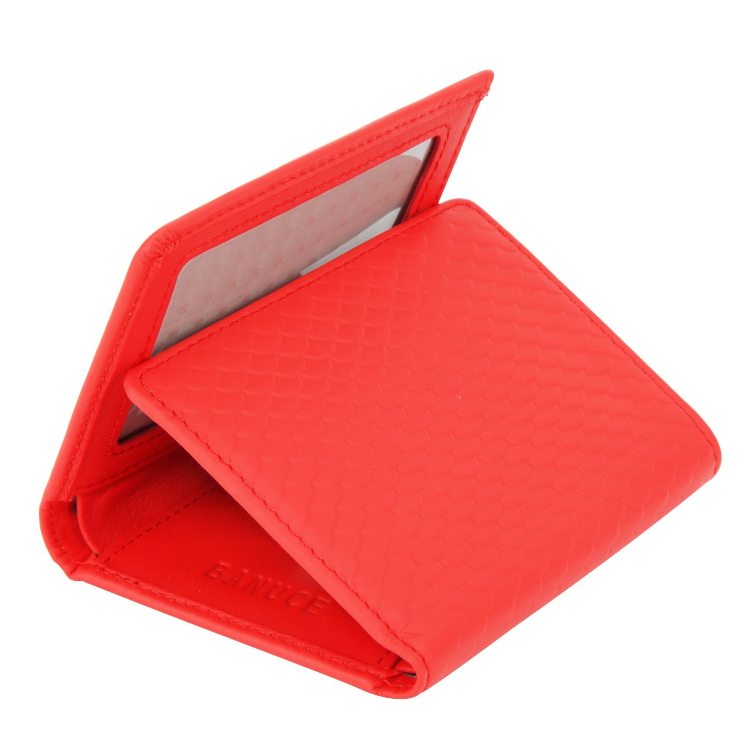 Banuce Women's Full Grains Genuine Leather Embossed Pattern Slim Small Item Trifold Wallet Color Red
