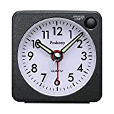 Peakeep Ultra Small, Battery Travel Alarm Clock with Snooze and Light, Silent with No Ticking Analog Quartz (Aquamarine)