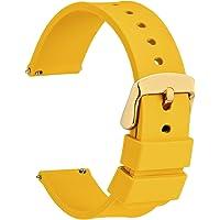 WOCCI Correa de Silicona con Hebilla de Oro Rosa, Liberación Rápida, Correas de Reloj 14mm 16mm 18mm 20mm 22mm