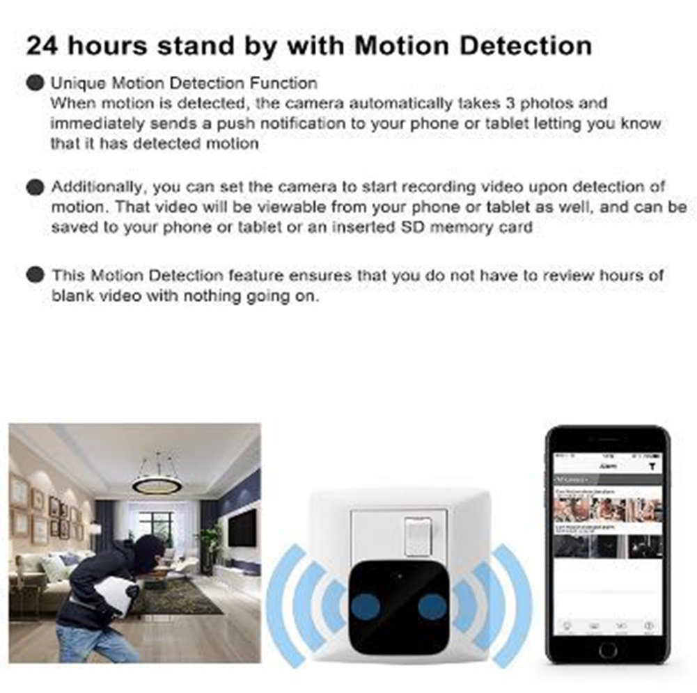 Mini Wireless IP Camera -Hidden Camera -HD 1080P-Wifi Spy Camera With Remote View App- Wall Charger Plug Motion Detection Cam For Home Security Surveillance by Bescar (Image #4)
