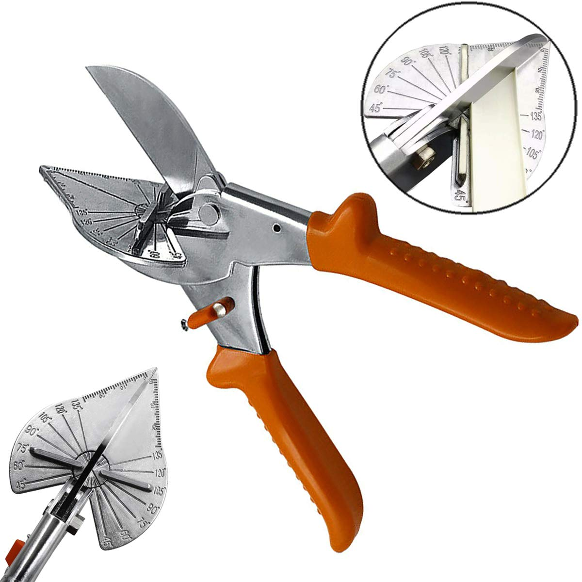 QISF Gasket Shear Multi Angle Miter Hand Shear Trim Tool,45 to 135 Degree SK5 Steel Blade Adjustable Trunking Shear for Plumbers Electricians Carpenters