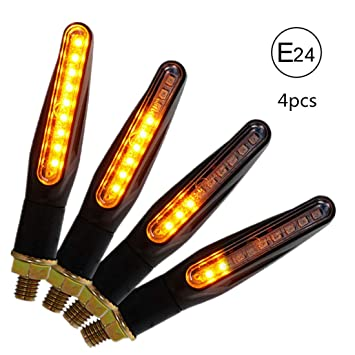 CCAUTOVIE Universal Indicator Motorbike Led Turn Signal Lights Motorcycle Blinker Light E24 Mark Amber Pack of 4pcs