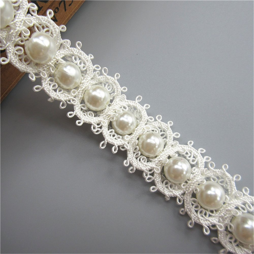 1 Yard Polyester Pearl Lace Edge Trim Ribbon Band 2.5cm Width Vintage Style White Edging Trimmings Fabric Embroidered Applique Sewing Craft Wedding Bridal Dress DIY Party Headwear Headdress Clothes Embroidery Qiuda