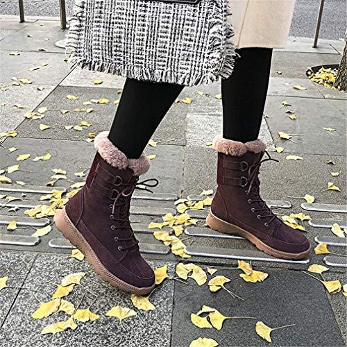 Femeninos Gamuza A Media Cálidas Moda Botas Calzados Felpa Botines Invierno Gruesas Púrpura Mujer De Yan Pierna 4qC7pPP
