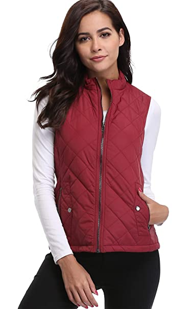 e41d20923a29e MISS MOLY Womens Gilet Quilted Padded Gilet Sport Lightweight Sleeveless  Zip Jacket Body Wamers Red -