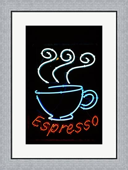 Amazon.com: Glowing Neon Sign of an Espresso Coffee Cup Framed Art ...