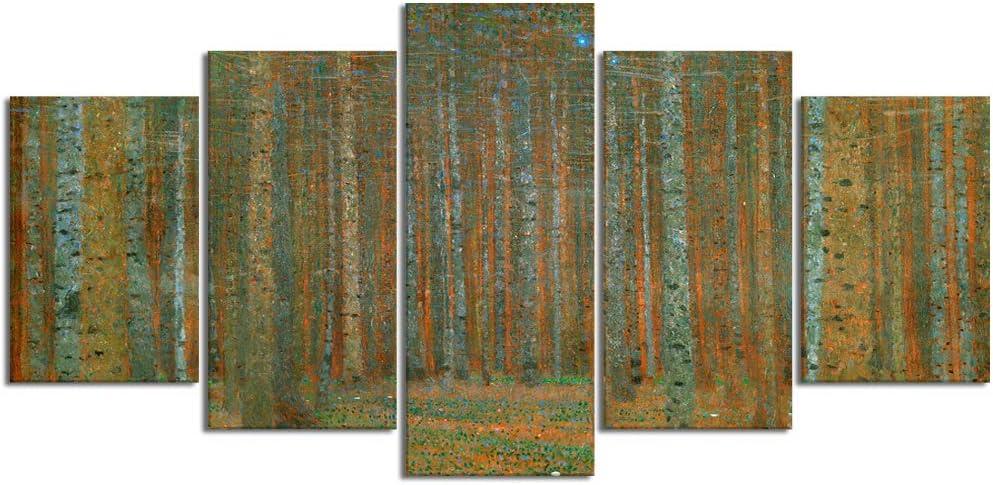 YOUMEISU Cuadro en Lienzo,5 Partes Pintura al óleo Bosque arbolado Bosque denso Naturaleza Bosque bosques Plata Abedul Corteza otoño Fall de Arte de Pared Decoración del Hogar para el Cartel Modular