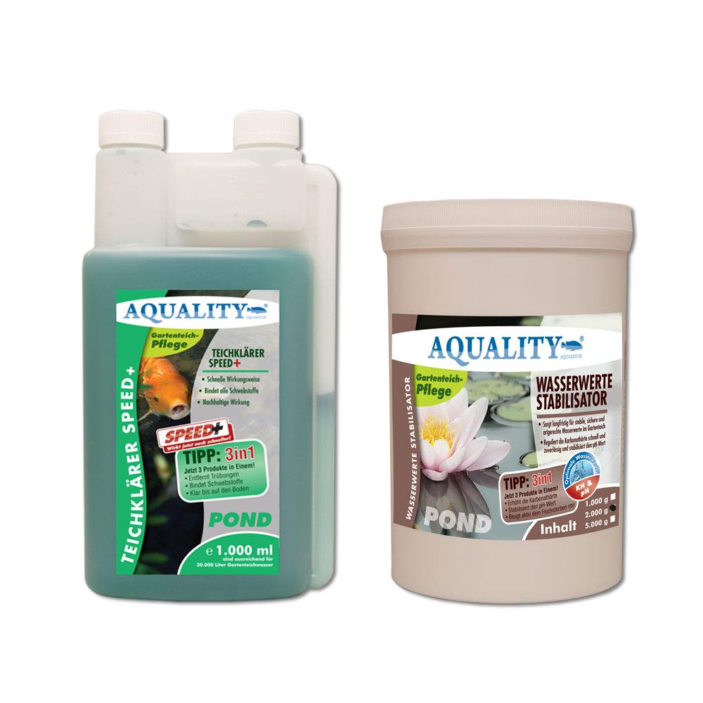 Aquality Clear Water Pond Care Set Clear, 100,000 Perfect Care Set for a within Germany – Beautiful Garden Pond. Pond Clarifier Plus Water Stabiliser. Quick and long-lasting Effect