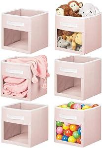 mDesign Soft Fabric Closet Storage Organizer Cube Bin Box, Clear Window and Handle - for Child/Kids Room, Nursery, Playroom, Furniture Units, Shelf, 6 Pack - Light Pink/White