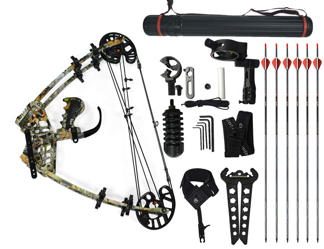 MILAEM 45lbs 複合弓 矢と鋼球を使える多目的コンパウンドボウ アルミニウム製スチールボール弓 左/右利き 節約力の割合:75%~80% アーチェリー狩猟弓 撮影魚弓 弓道練習専用弓 迷彩セット