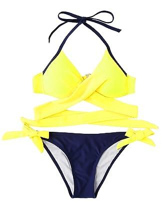 a1d60f4135 ROMWE Maillots de Bain 2 Pièces Bikini à Bretelle Bikini de Plage Push-up  Rembourré Piscine Sexy Jaune M: Amazon.fr: Vêtements et accessoires
