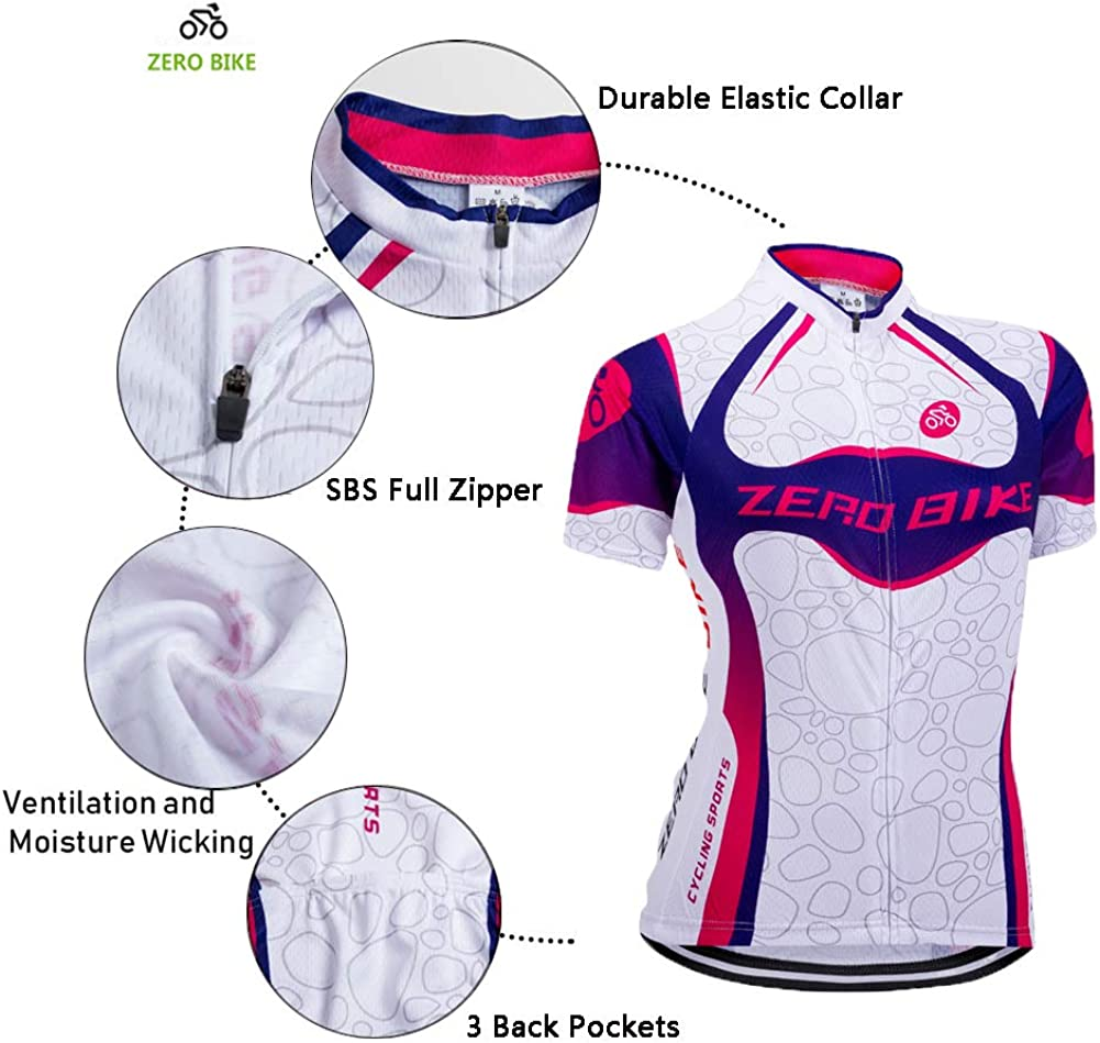 ZEROBIKE Womens Short Sleeve Cycling Jersey Jacket Cycling Shirt Quick Dry Breathable Mountain Clothing Bike Top/…