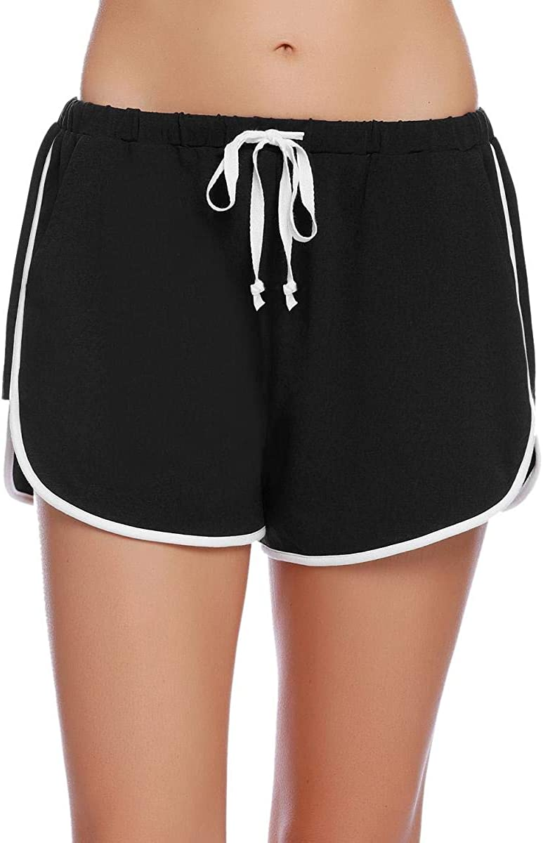 Abollria Womens Sport Shorts Ladies Summer Pyjama Bottoms Cotton Lounge Casual Pants with Drawstring for Yoga Gym Running