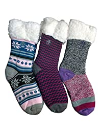 Frozen Folk Fleece-Lined Cozy Thick Winter Slipper Socks, Non-Skid Soles, Fluffy Warm