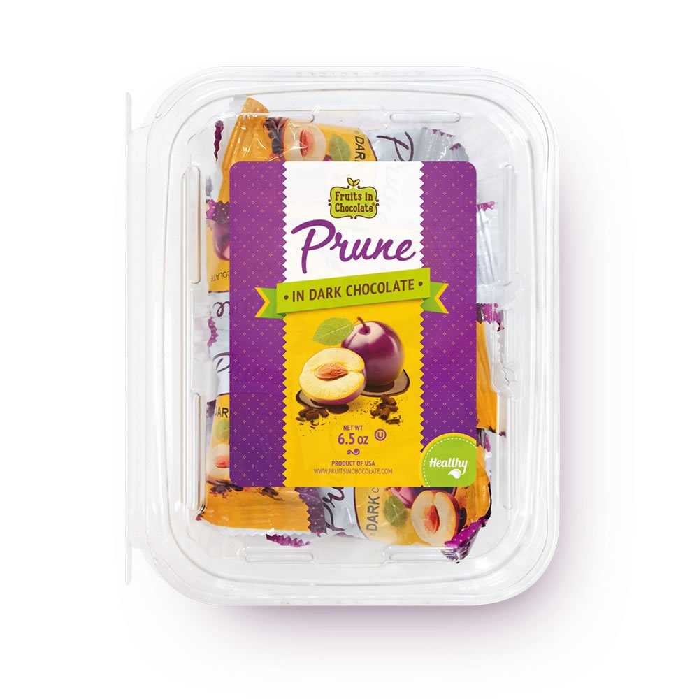 Dark Chocolate Covered Prunes, 6.5 Oz Container by Fruits in Chocolate