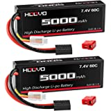 HOOVO 2S 5000mAh 7.4V 60C RC Lipo Battery Hard Case with Traxxas and Deans Connector for RC Car Truck Truggy Buggy Tank RC Airplane Helicopter Boat Car Racing (2 Pack)