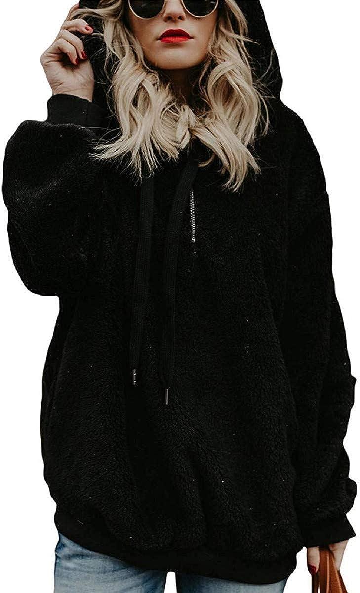 Tuopuda Sudadera Mujer con Capucha Caliente y Esponjoso para Otoño Invierno Talla Grande Hoodie Sudadera Mujer Cremallera De Manga Larga Moda Sudadera Tops Calle