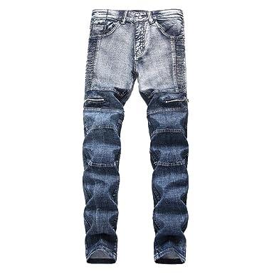 Celucke Herren Jeans Hose,Männer Jeanshosen Skinny Denim Falten Waschen  Arbeit Ausgefranste Röhrenjeans Reißverschluss Basic fdac003f97
