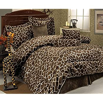 7 Piece Full Giraffe Animal Kingdom Bedding Comforter Set