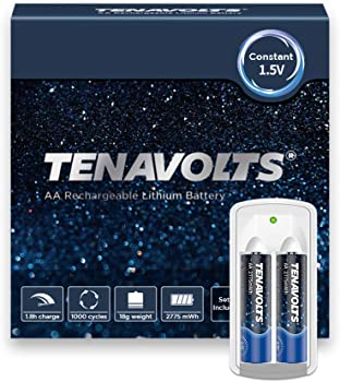 2-Pack Tenavolts Rechargeable AA Batteries with micro USB Charger