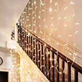 Ollny Curtain Window Icicle Decorative Lights Fairy String Lights for Wedding Christmas Party Backdrops Home Outdoor Decorations 9.8ft x 9.8ft 300 LEDs 8 modes Warm White