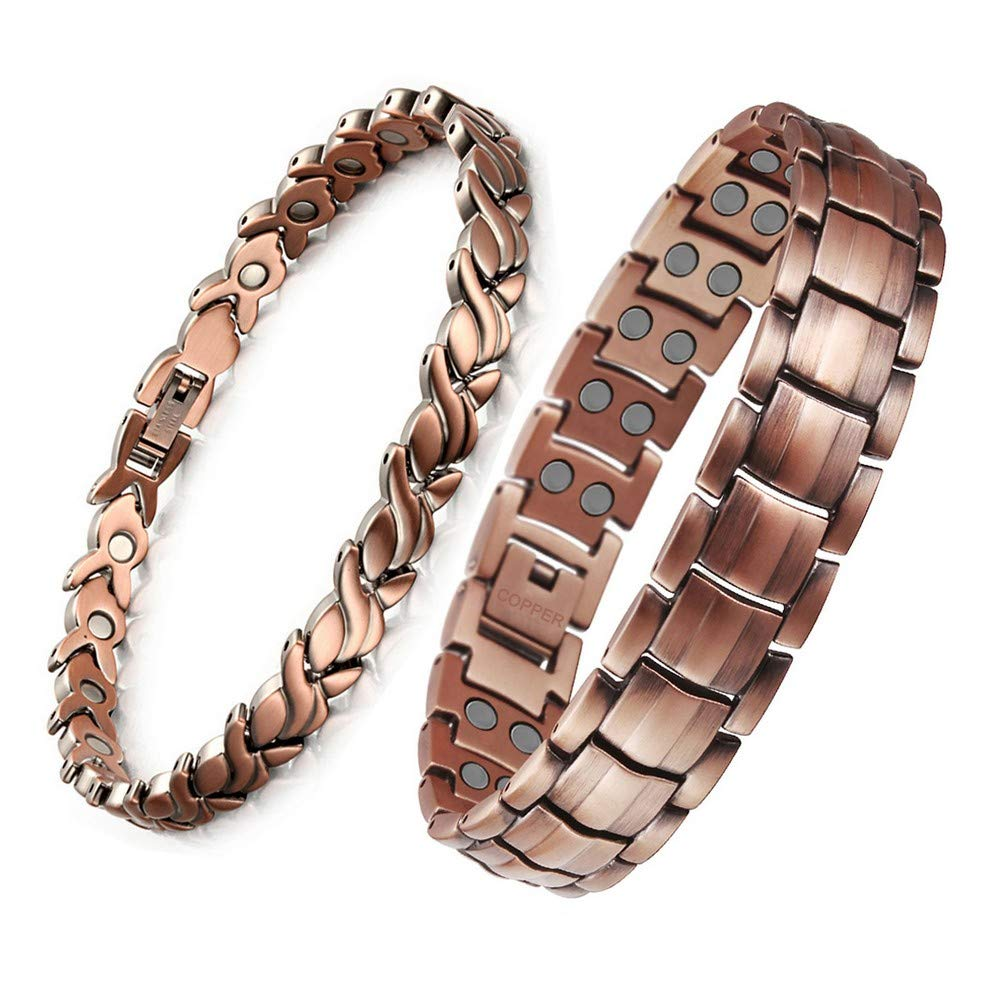 HiTreasure 2 PCS Double Strength Mens Women 99.95% Pure Copper Magnetic Therapy Bracelet with High Power Magnets for Arthritis Pain Relief (Imported,3500 Gauss Each Link)
