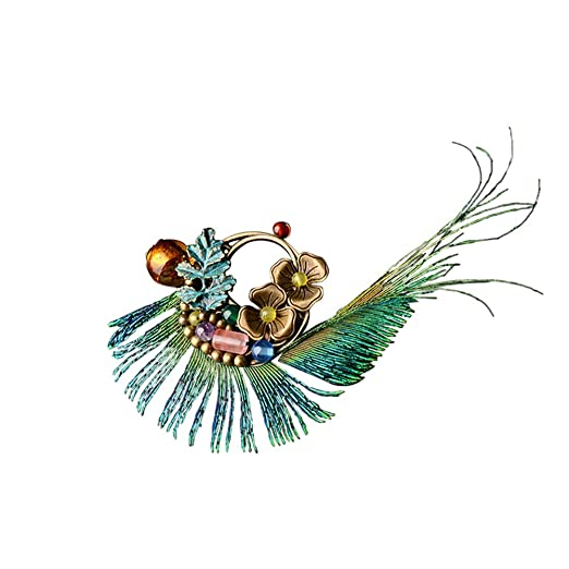 df46fe3f22392 Song Qing Fascinator Peacock Feather Hair Clip Pin Brooch Corsage ...