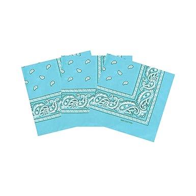 4e6fd8b0616 Laciteinterdite Coton Paisley Bandana Écharpe Bandeau Lot de 3 - Turquoise  - Taille Unique