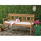 Safavieh PAT6736A Outdoor Collection Montclair 3 Seat Bench, Teak Brown/Beige