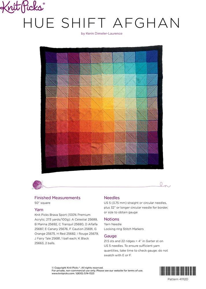 Amazon Knit Picks Hue Shift Afghan Knitting Pattern Kit Rainbow