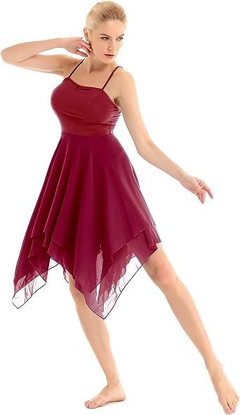 inhzoy Vestido de Baile Latino para Mujer Vestido de Danza Lírica ...