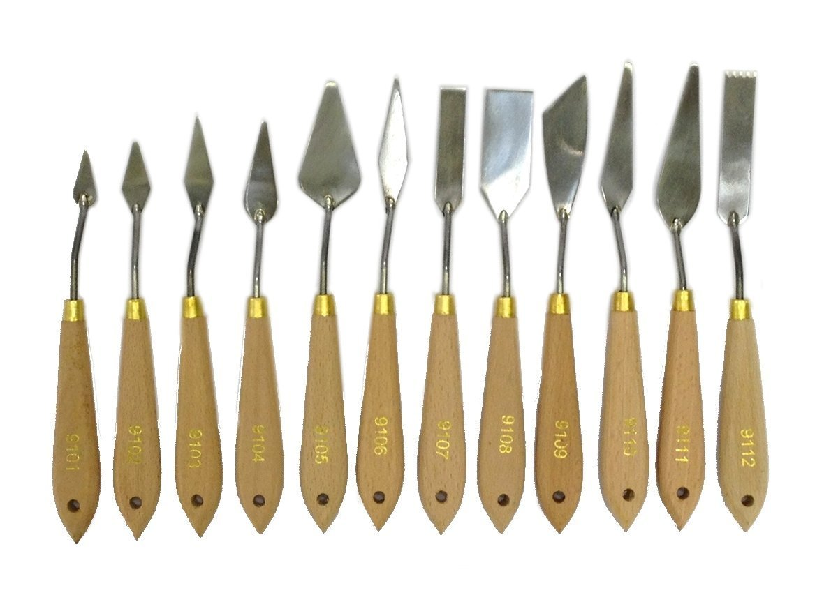 EDMBG Palette Knife for Oil Painting, Metal Spatula Wood Handle (Natural 12 Piece)